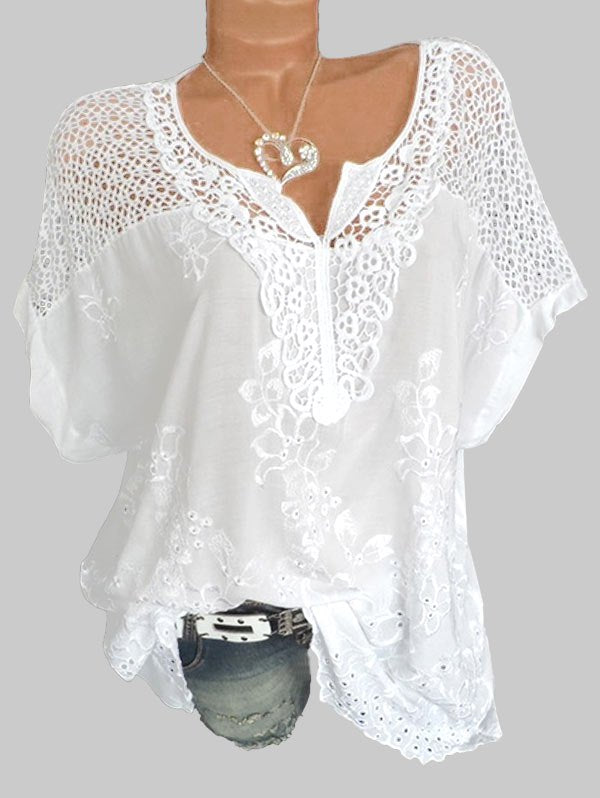 Floral Embroidery Hollow Out Shirt