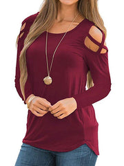 Long Sleeve Cut Out Solid Top
