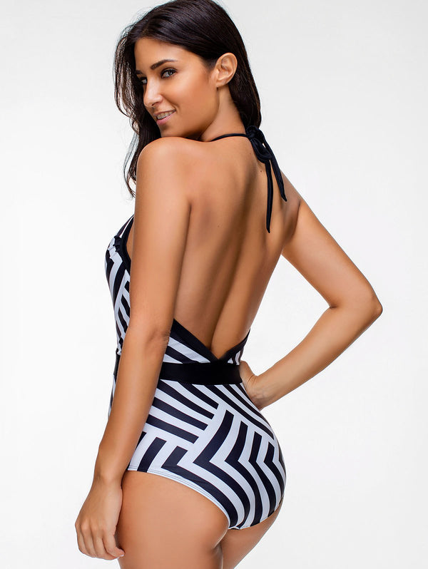Halter Low Cut Backless Zigzag One Piece Swimsuit