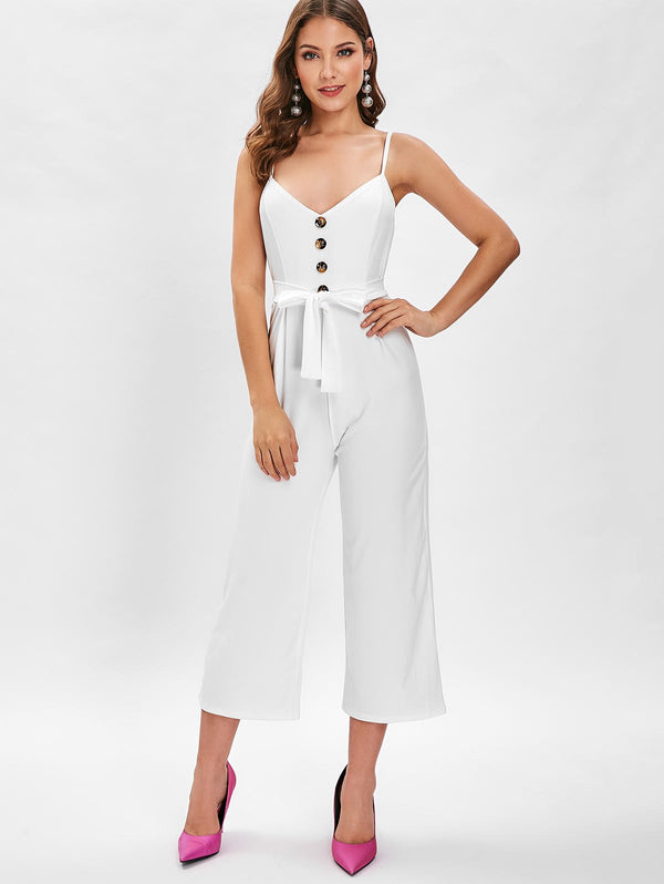 Spaghetti Strap Buttons Wide Leg Jumpsuit
