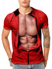 3D Muscle Jacket Print Funny Short Sleeve T-shirt