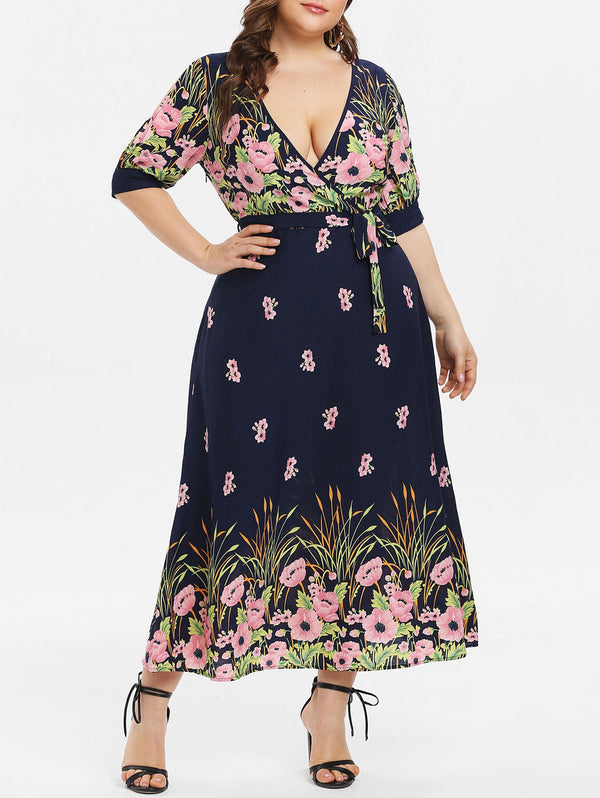 Plus Size Floral Print Maxi Flare Dress