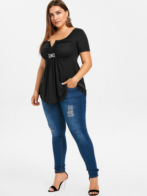 Plus Size Ruched Flounce T-shirt