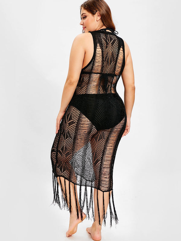 Fringe Openwork Plus Size Cover Up Dress