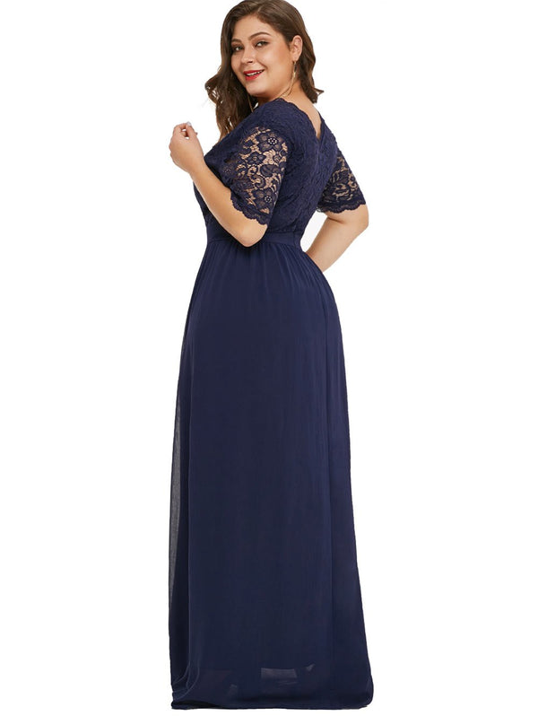 Plus Size Plunging Neck Lace Sleeve Maxi Dress