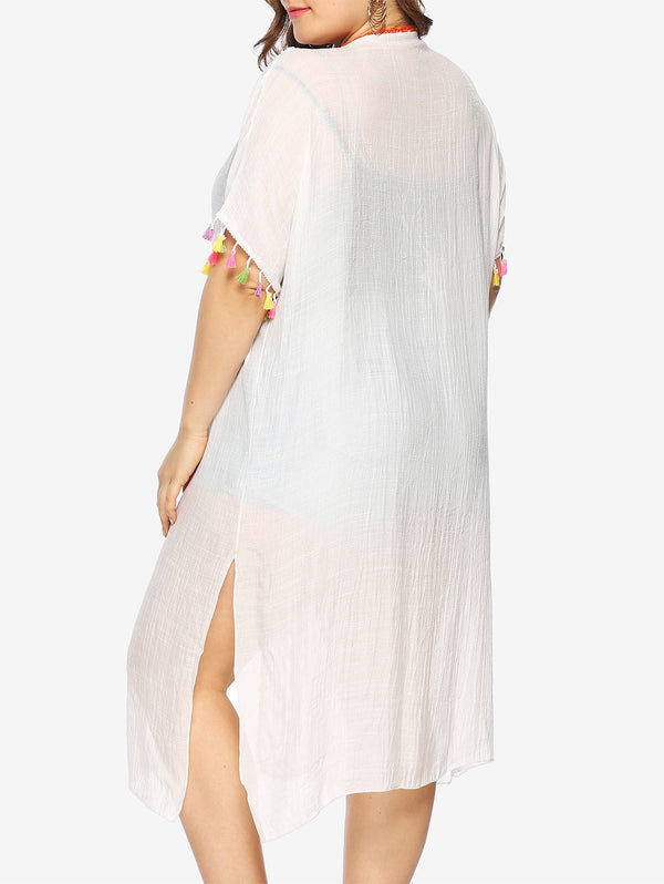 Plus Size Crochet Tassel Trim Cover Up