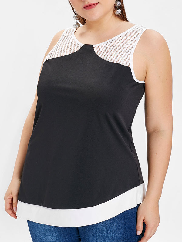 Plus Size Two Tone Asymmetric Tank Top