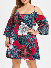 Plus Size Cold Shoulder Floral Mini Dress