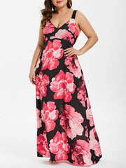 Plus Size V Neck Floral Print Chiffon Maxi Dress