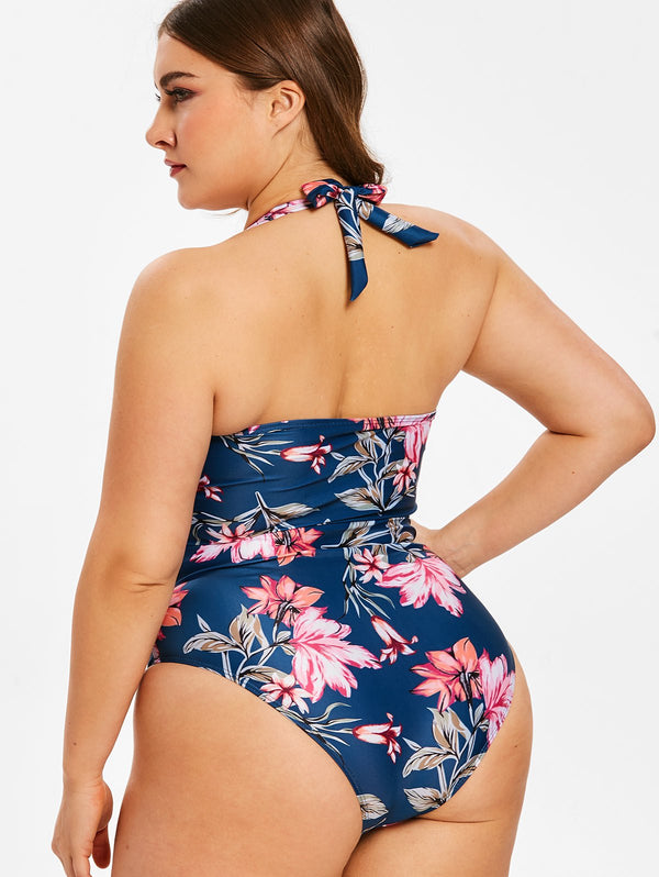 Halter Neck Plus Size Floral Print Swimwear