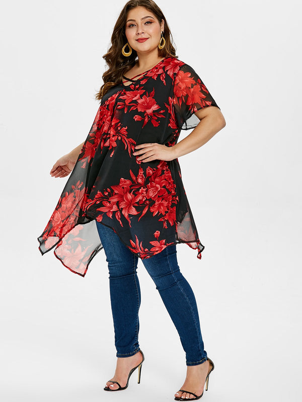 Plus Size Criss Cross Floral Print Blouse