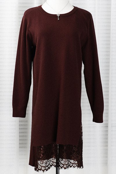 Stylish Round Neck Long Sleeve Lace Splicing Sweater Dress For Women