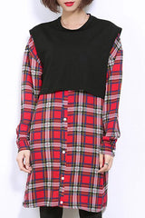 Chic Jewel Long Sleeve Plaid Dress For Women
