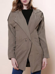 Casual Lapel Neck Solid Color Loose-Fitting Long Sleeve Trench Coat For Women