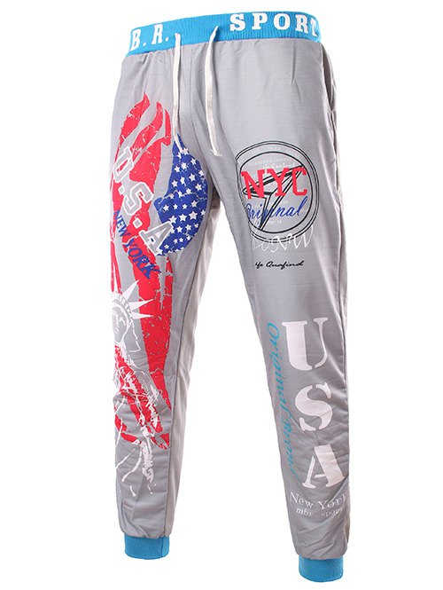 Beam Feet American Flag Statue of Liberty Letters Print Hit Color Lace-Up Men's Loose Fit Sweatpants