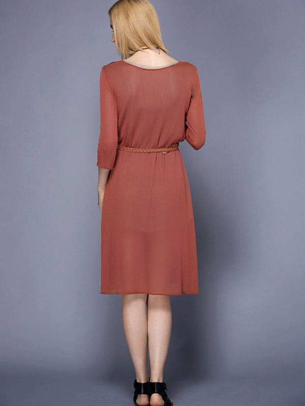 Trendy Round Collar 3/4 Sleeve Furcal Solid Color Women's Dress