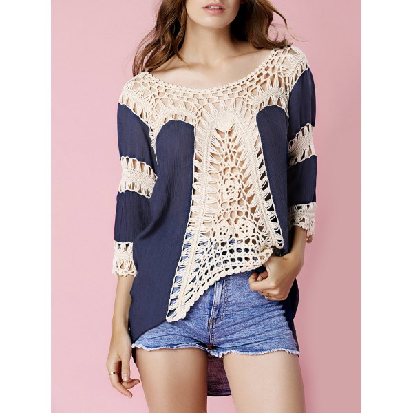 Stylish Round Neck 3/4 Sleeve Hollow Out Crochet Women's Cover Up