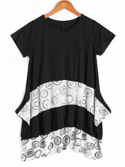 Loose-Fitting Short Sleeve Round Neck Splicee Design Dress For Women