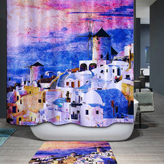 Waterproof Mouldproof Castles Printed Shower Curtain