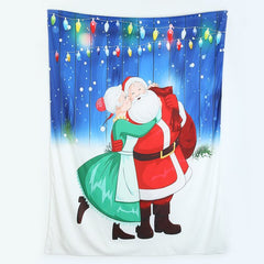 Christmas Happy Santa Claus Printed Beach Throw