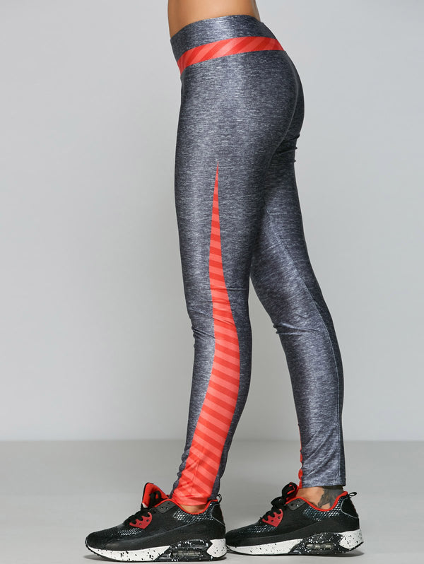 Striped Side Stretchy Yoga Pants