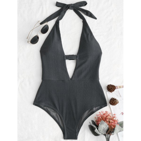 Halter Plunge Front Backless Swimsuit