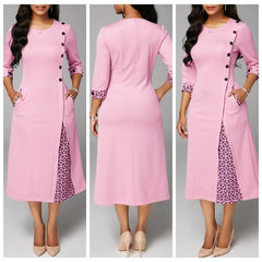 Leisure A-shaped half-sleeve O-collar dress