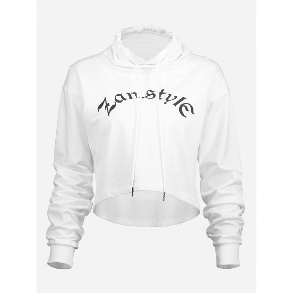 Drawstring Cropped Hoodies