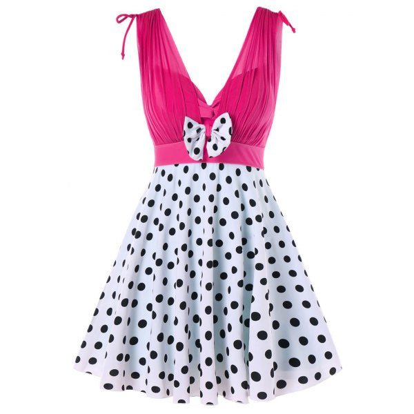 One Piece Polka Dot Plunging Neckline Swimwear