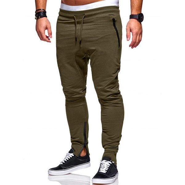 Side Zip Pockets Casual Jogger Pants