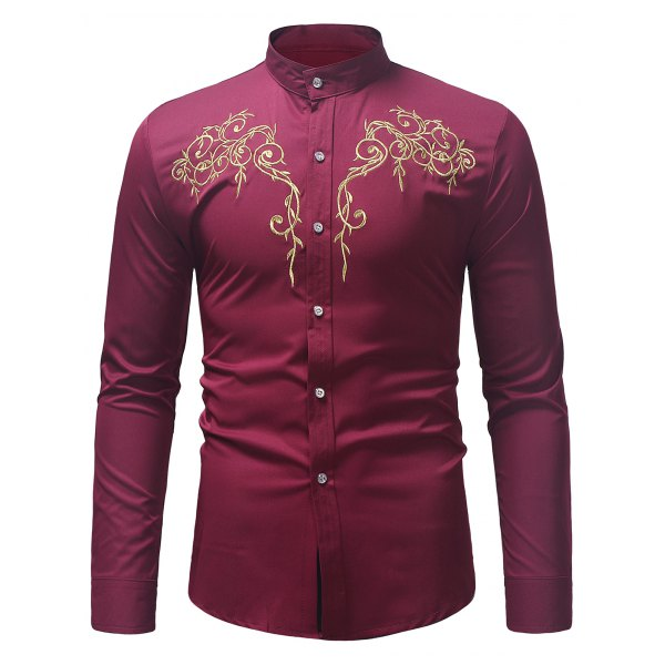 Stand Collar Twig Pattern Embroidery Shirt