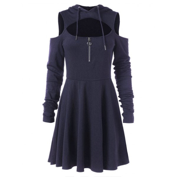 Open Shoulder Swing Dress with Zipper