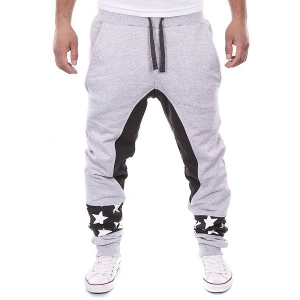 Star Print Color Block Jogger Pants