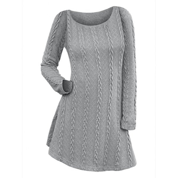 Long Sleeve Cable Knit Dress