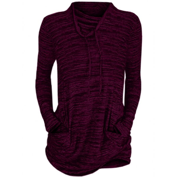 Womens Cowl Neck Long Sleeve Pocket Casual Tunic Sweatshirts T-shirt
