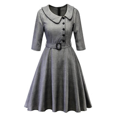 Winter checked dress with round collar