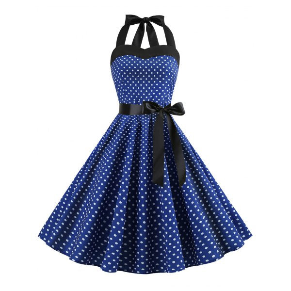Lace Up Polka Dot Flare Dress