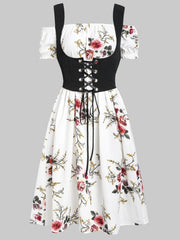 Flower Off Shoulder Dress and Lace-up Waistcoat Set