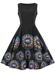 Round Neck Printed Sleeveless Flare Dress