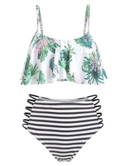 Leaf Print Striped Strappy Flounce Bikini Swimsuit