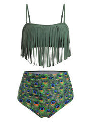 Peacock Print Ruched Fringed Bikini Swimsuit
