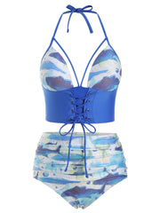 Fish Print High Waisted Lace-up Tankini Swimsuit
