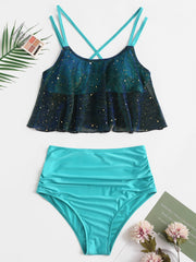 High Waisted Sequined Flounce Cross Tankini Swimsuit