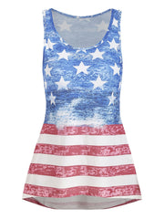 Casual High Low American Flag Tank Top