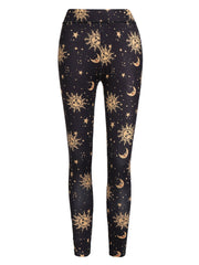 Sun and Moon Print Skinny Leggings