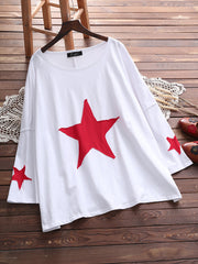 Women Basic Asymmetrical Holiday Star Spring Autumn Summer Daily Casual Tops Plus Size Blouses & Shi