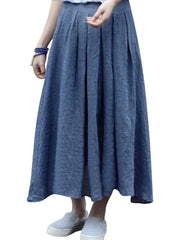 Brief Solid Pleated Button Decoration Women Skirts