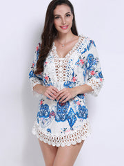 Sexy Dresses Polyester Mini Women Boho V-neck Floral Print Hollow Lace Dress