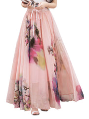 Printed Daily Casual Bohemian Print Ankle Length Pleated Women Chiffon Skirts