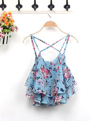 Flower O-neck Daily Casual Chiffon Tank Tops